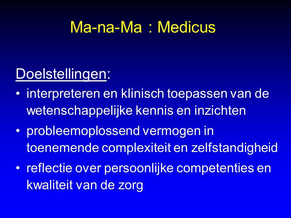Ma-na-Ma : Medicus Doelstellingen: interpreteren en klinisch toepassen van de wetenschappelijke kennis en inzichten probleemoplossend vermogen in toen