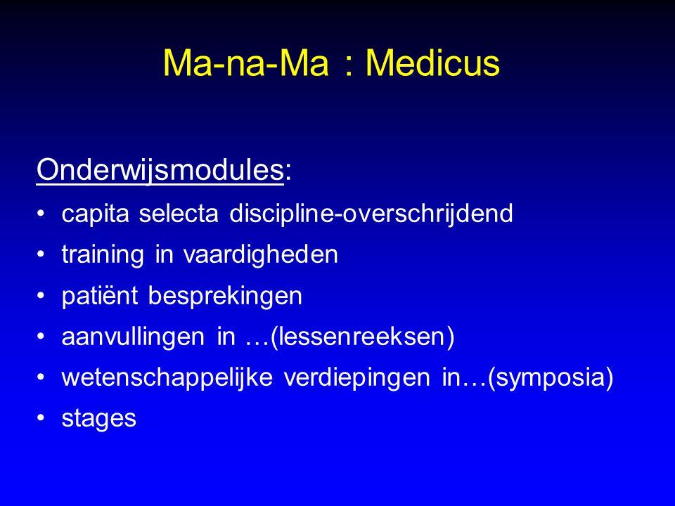 Ma-na-Ma : Medicus Onderwijsmodules: capita selecta discipline-overschrijdend training in vaardigheden patiënt besprekingen aanvullingen in …(lessenre