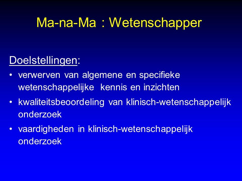 Ma-na-Ma : Wetenschapper Doelstellingen: verwerven van algemene en specifieke wetenschappelijke kennis en inzichten kwaliteitsbeoordeling van klinisch