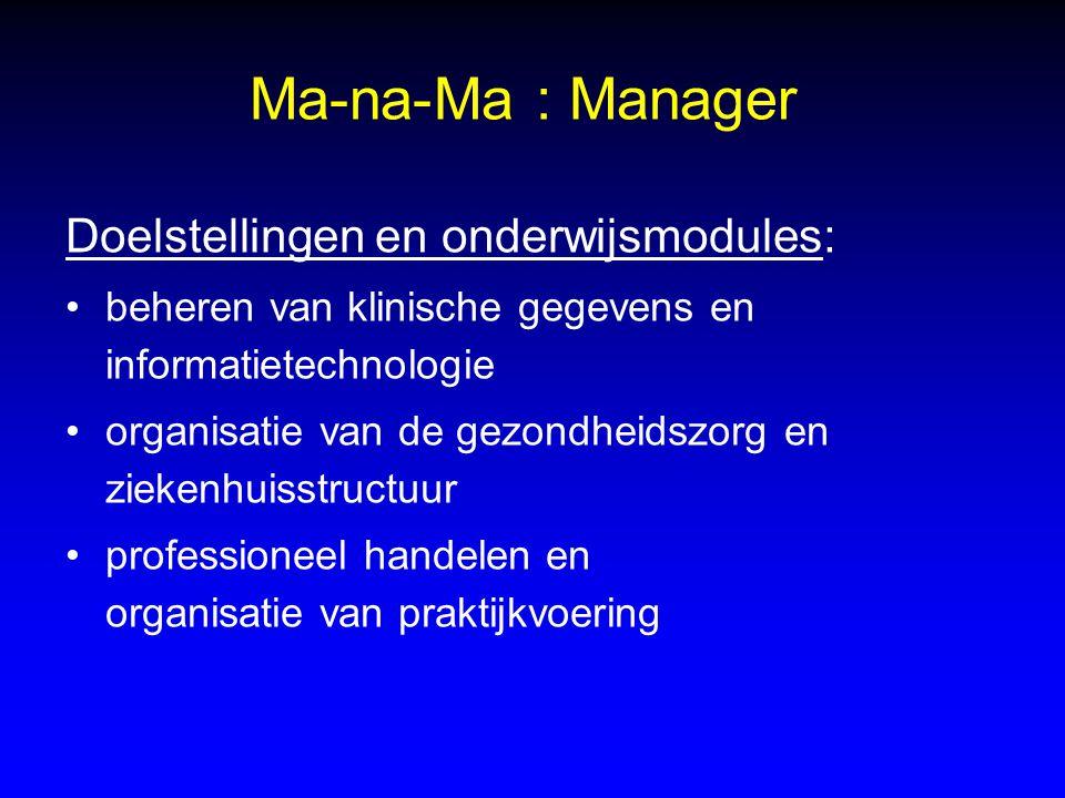 Ma-na-Ma : Manager Doelstellingen en onderwijsmodules: beheren van klinische gegevens en informatietechnologie organisatie van de gezondheidszorg en z