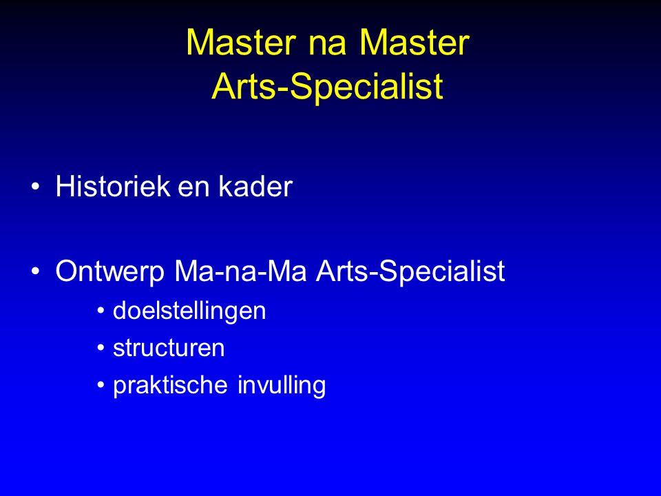 Master na Master Arts-Specialist Historiek en kader Ontwerp Ma-na-Ma Arts-Specialist doelstellingen structuren praktische invulling