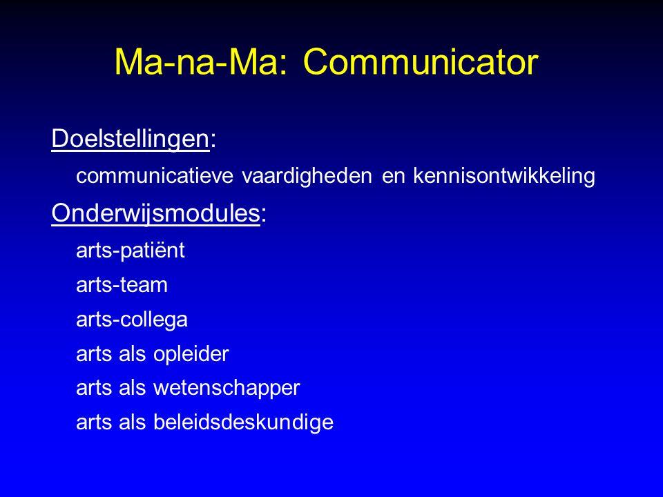 Ma-na-Ma: Communicator Doelstellingen: communicatieve vaardigheden en kennisontwikkeling Onderwijsmodules: arts-patiënt arts-team arts-collega arts al