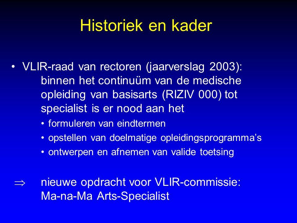 Historiek en kader VLIR-raad van rectoren (jaarverslag 2003): binnen het continuüm van de medische opleiding van basisarts (RIZIV 000) tot specialist