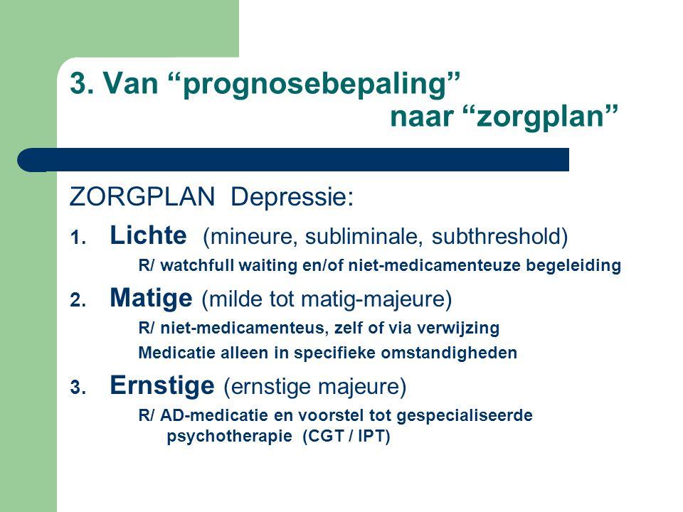 3.Van prognosebepaling naar zorgplan ZORGPLAN Depressie: 1.