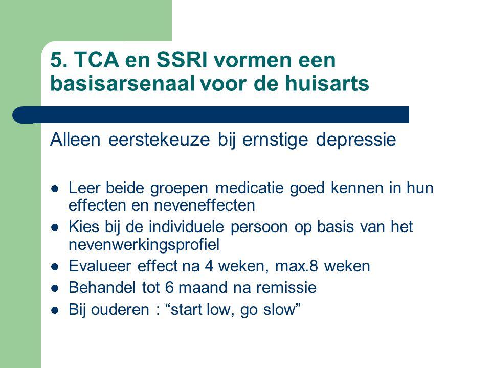 5. TCA en SSRI vormen een basisarsenaal voor de huisarts Alleen eerstekeuze bij ernstige depressie Leer beide groepen medicatie goed kennen in hun eff