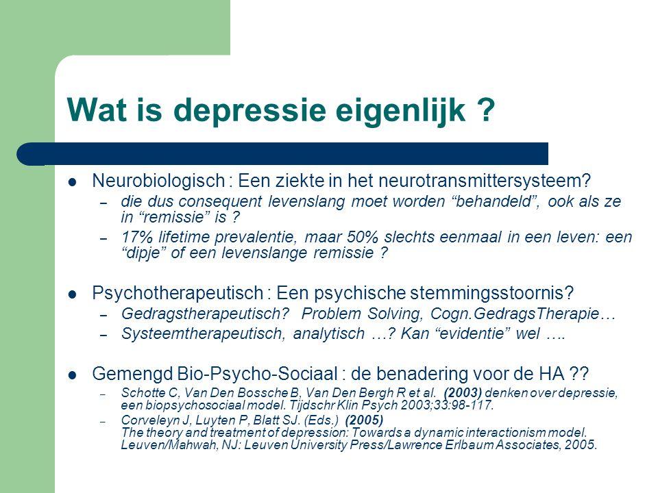 Wat is depressie eigenlijk .Neurobiologisch : Een ziekte in het neurotransmittersysteem.