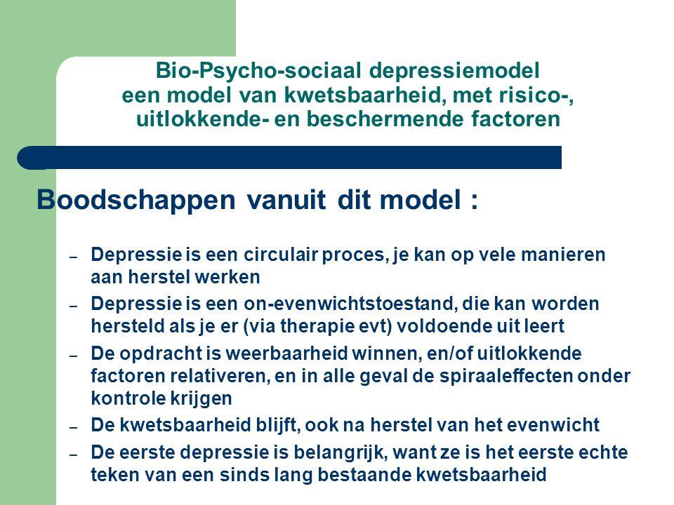 Bio-Psycho-sociaal depressiemodel een model van kwetsbaarheid, met risico-, uitlokkende- en beschermende factoren Boodschappen vanuit dit model : – Depressie is een circulair proces, je kan op vele manieren aan herstel werken – Depressie is een on-evenwichtstoestand, die kan worden hersteld als je er (via therapie evt) voldoende uit leert – De opdracht is weerbaarheid winnen, en/of uitlokkende factoren relativeren, en in alle geval de spiraaleffecten onder kontrole krijgen – De kwetsbaarheid blijft, ook na herstel van het evenwicht – De eerste depressie is belangrijk, want ze is het eerste echte teken van een sinds lang bestaande kwetsbaarheid