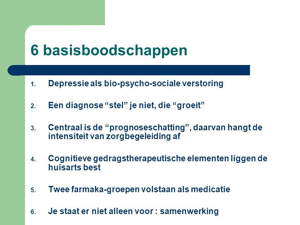 6 basisboodschappen 1.Depressie als bio-psycho-sociale verstoring 2.
