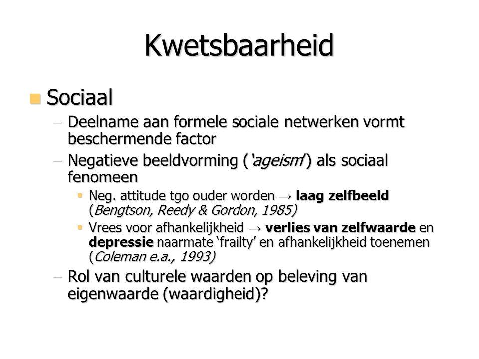 Kwetsbaarheid Sociaal Sociaal –Deelname aan formele sociale netwerken vormt beschermende factor –Negatieve beeldvorming ('ageism') als sociaal fenomee