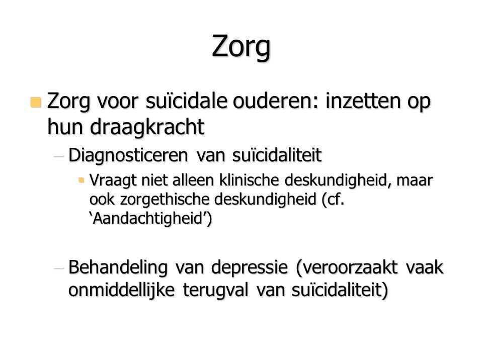Zorg Zorg voor suïcidale ouderen: inzetten op hun draagkracht Zorg voor suïcidale ouderen: inzetten op hun draagkracht –Diagnosticeren van suïcidalite