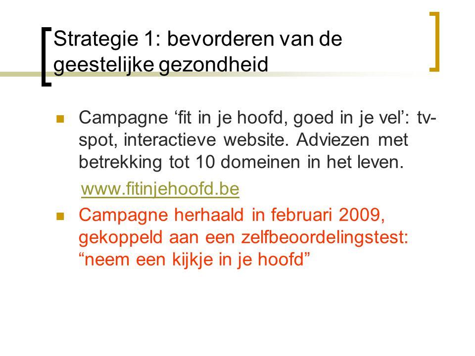 Strategie 1: bevorderen van de geestelijke gezondheid Campagne 'fit in je hoofd, goed in je vel': tv- spot, interactieve website.