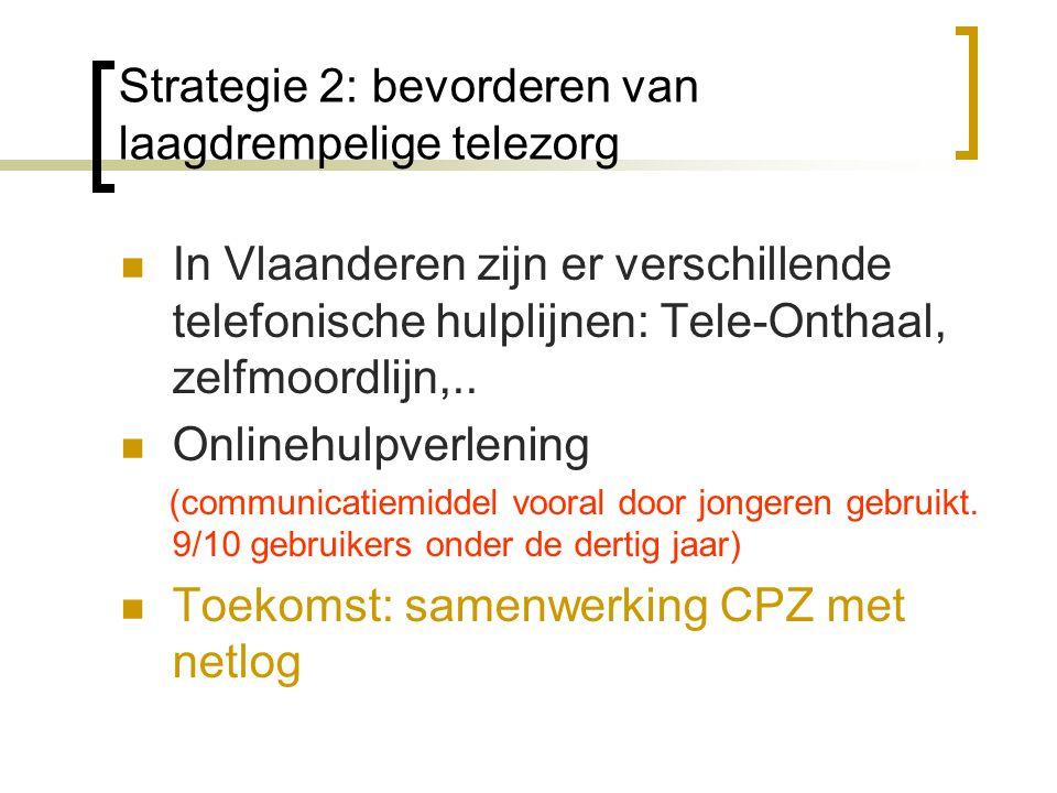 Strategie 2: bevorderen van laagdrempelige telezorg In Vlaanderen zijn er verschillende telefonische hulplijnen: Tele-Onthaal, zelfmoordlijn,..