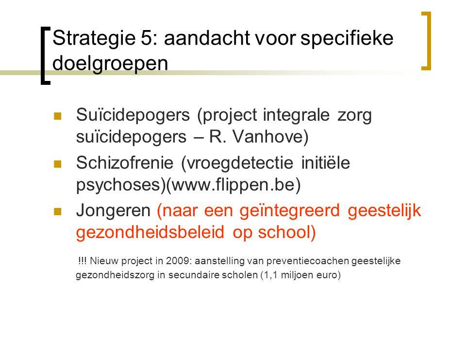 Strategie 5: aandacht voor specifieke doelgroepen Suïcidepogers (project integrale zorg suïcidepogers – R.