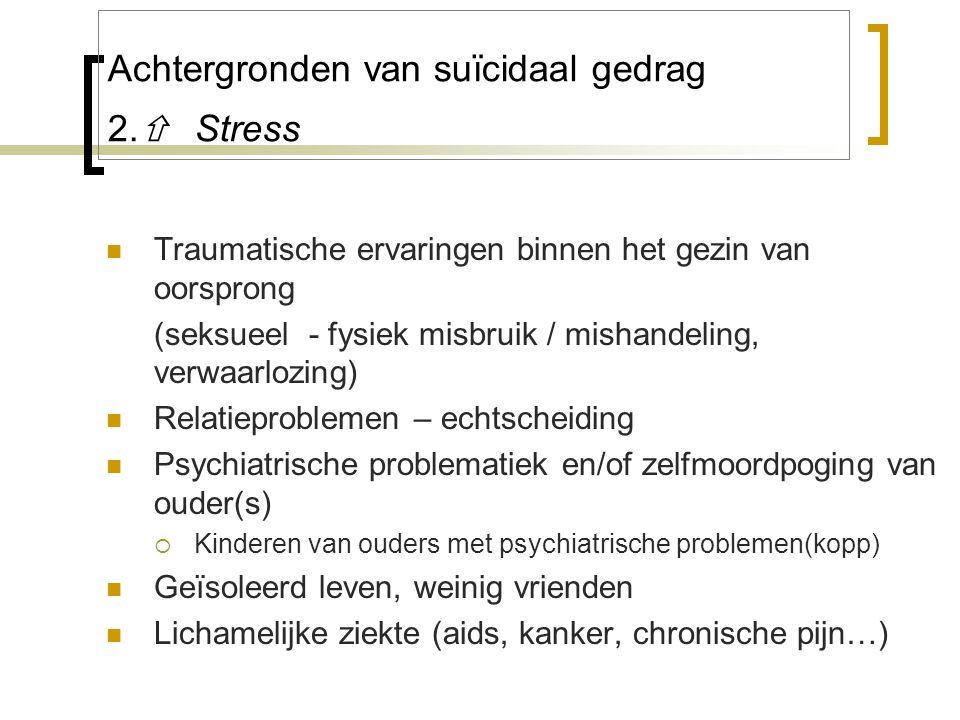 Achtergronden van suïcidaal gedrag 2.