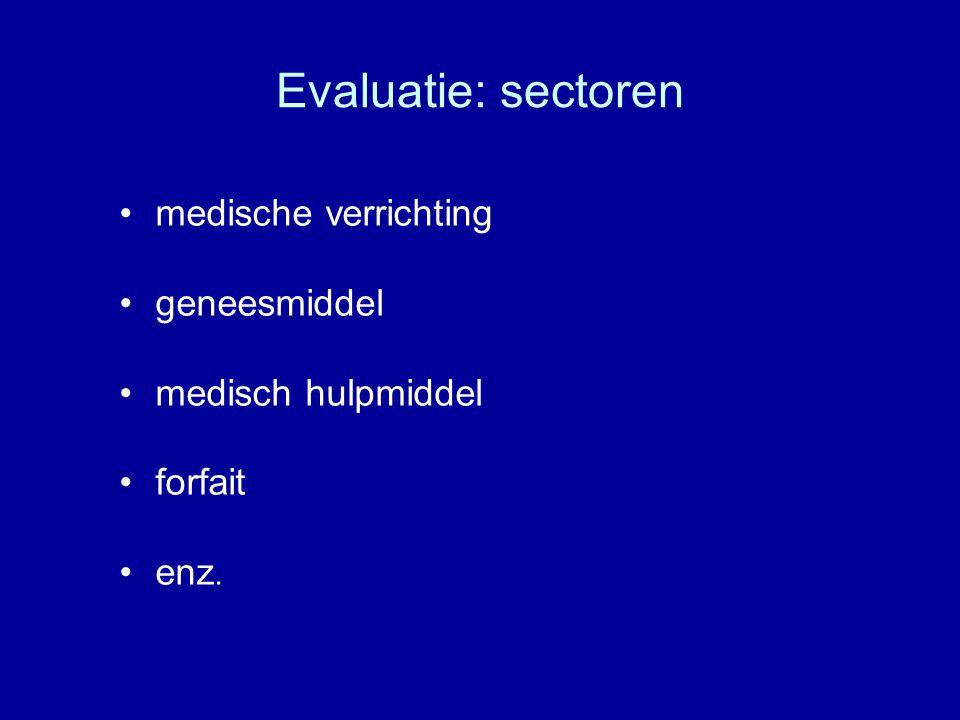Evaluatie: sectoren medische verrichting geneesmiddel medisch hulpmiddel forfait enz.