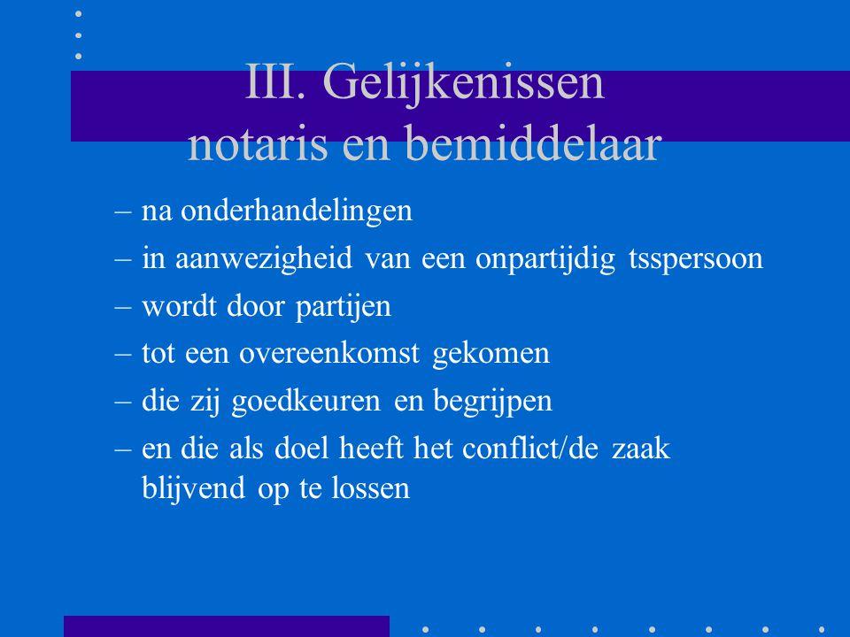 III. Gelijkenissen notaris en bemiddelaar –na onderhandelingen –in aanwezigheid van een onpartijdig tsspersoon –wordt door partijen –tot een overeenko