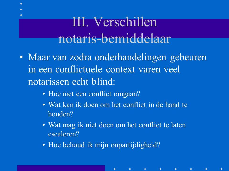 III. Verschillen notaris-bemiddelaar Maar van zodra onderhandelingen gebeuren in een conflictuele context varen veel notarissen echt blind: Hoe met ee