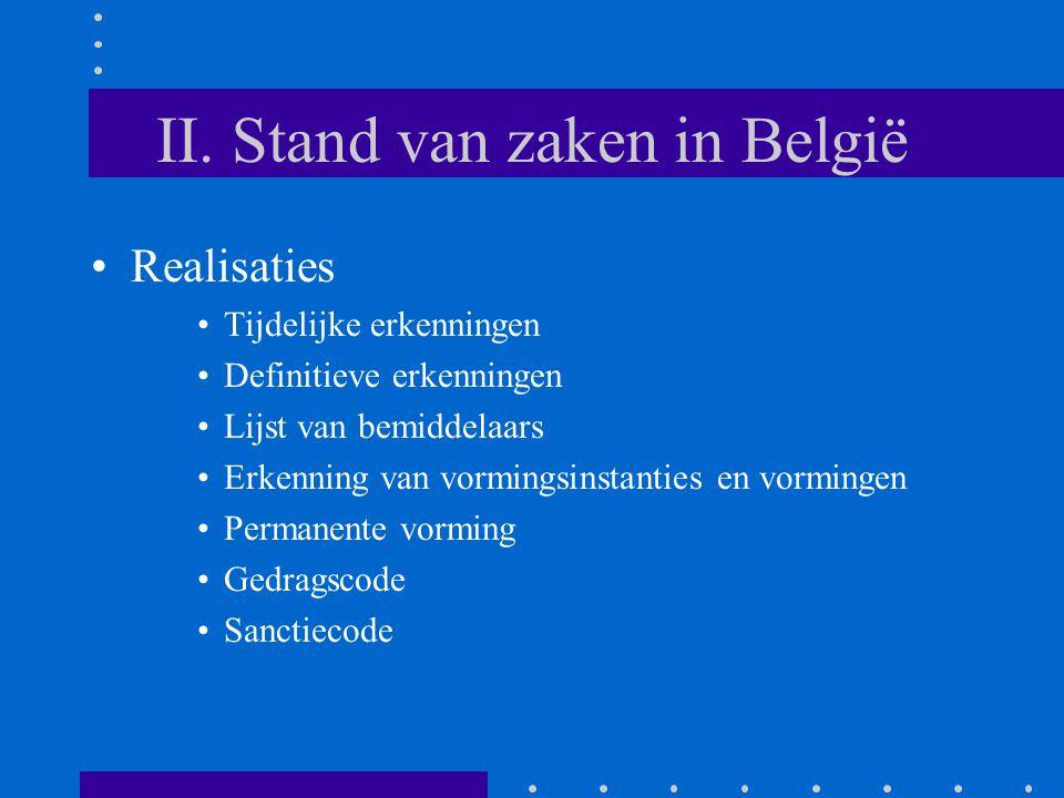 II. Stand van zaken in België Realisaties Tijdelijke erkenningen Definitieve erkenningen Lijst van bemiddelaars Erkenning van vormingsinstanties en vo