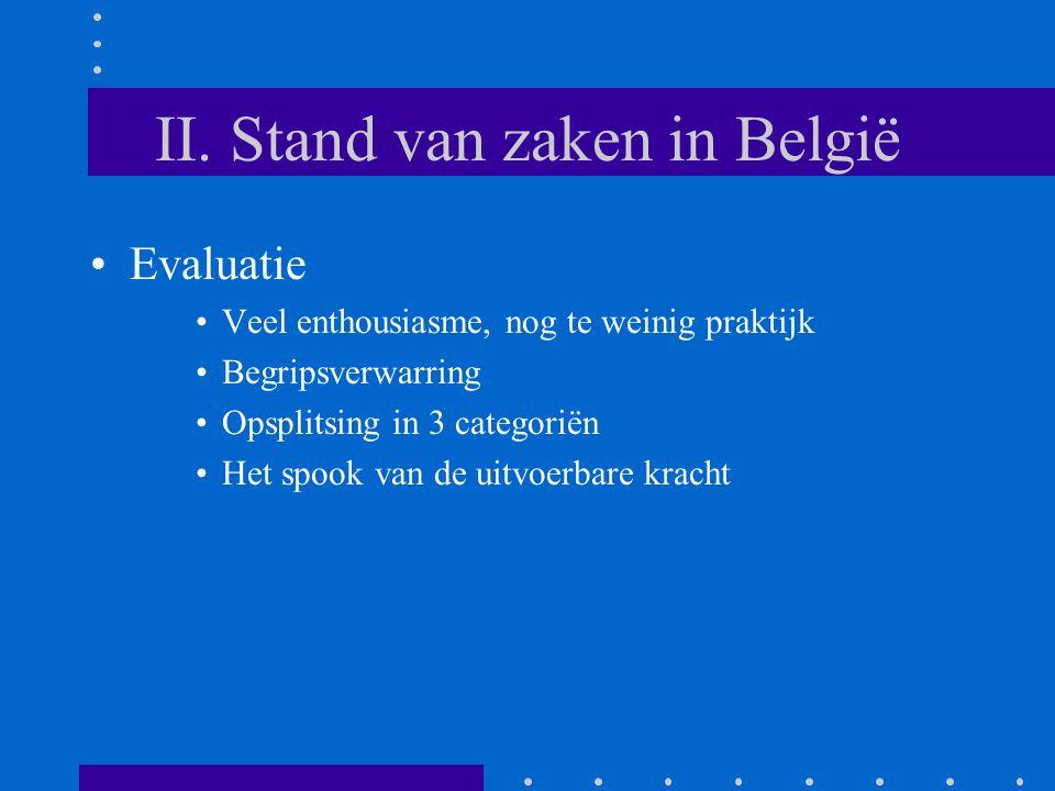 II. Stand van zaken in België Evaluatie Veel enthousiasme, nog te weinig praktijk Begripsverwarring Opsplitsing in 3 categoriën Het spook van de uitvo