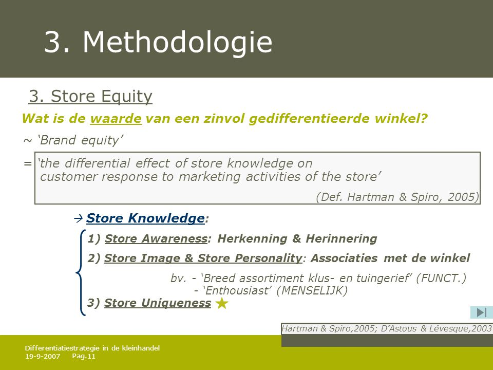 Pag. 19-9-200711 Differentiatiestrategie in de kleinhandel 3. Methodologie 3. Store Equity ~ 'Brand equity' = 'the differential effect of store knowle