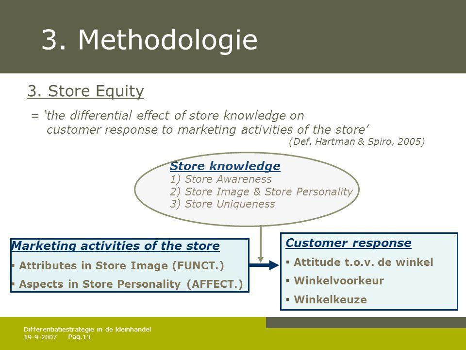 Pag. 19-9-200713 Differentiatiestrategie in de kleinhandel 3. Methodologie 3. Store Equity = 'the differential effect of store knowledge on customer r