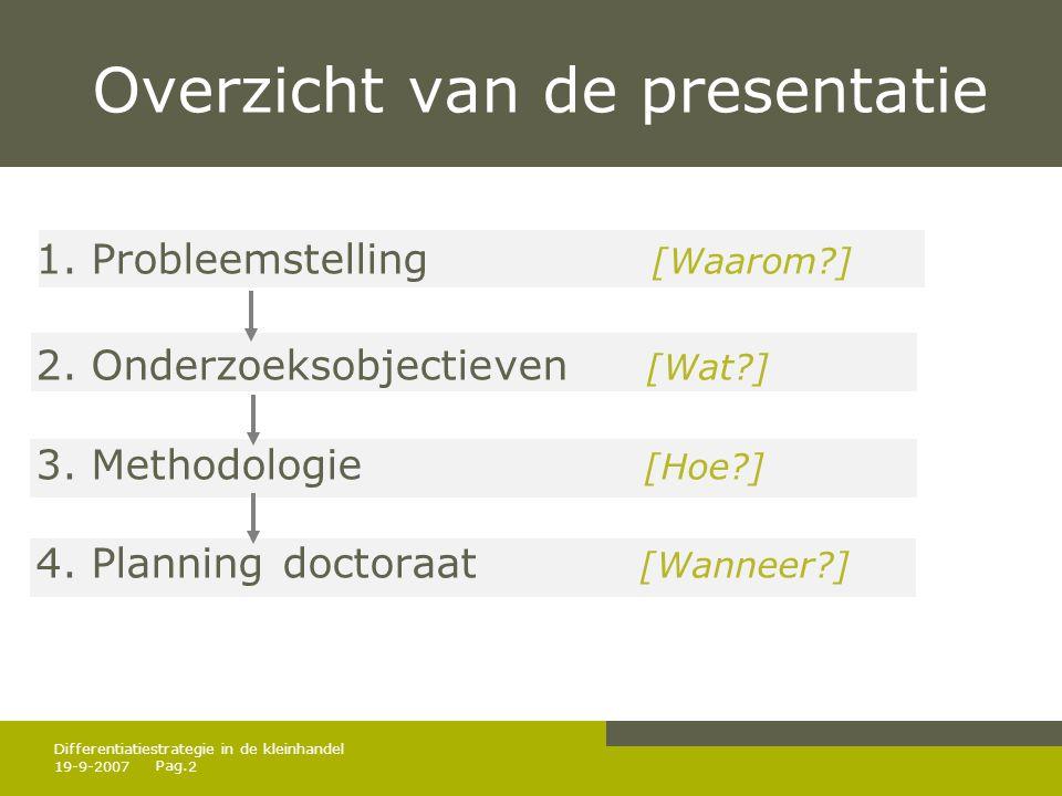 Pag. 19-9-20072 Differentiatiestrategie in de kleinhandel Overzicht van de presentatie 1. Probleemstelling [Waarom?] 2. Onderzoeksobjectieven [Wat?] 3