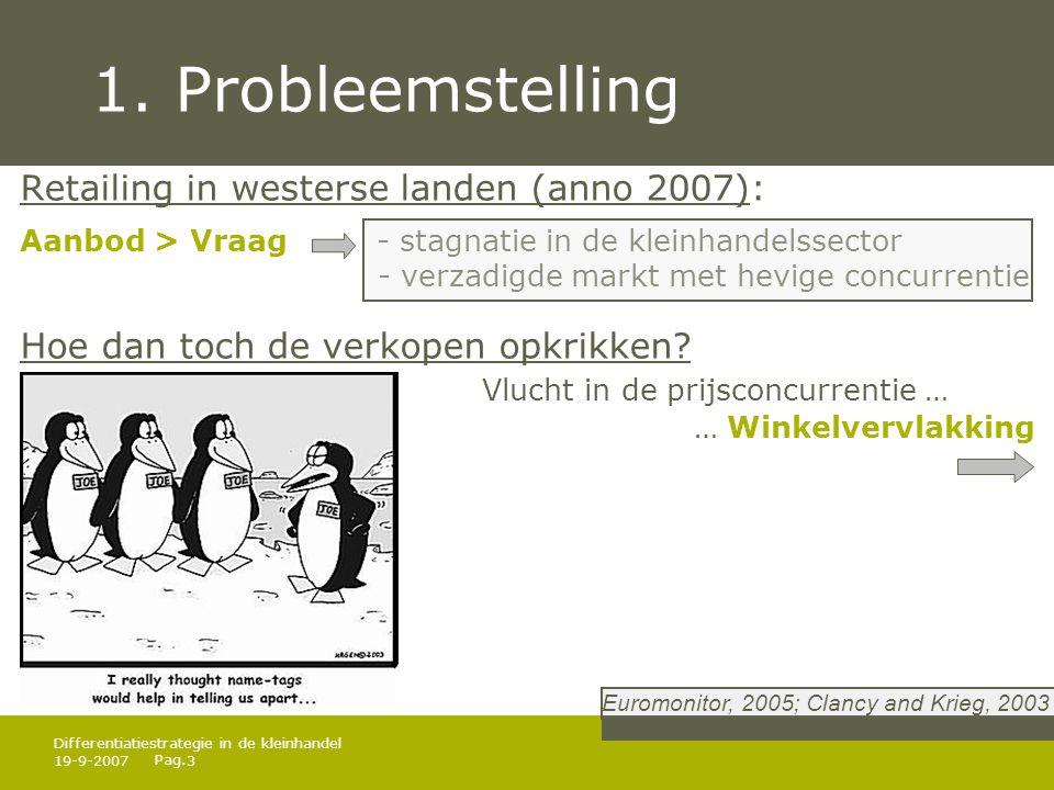 Pag. 19-9-20073 Differentiatiestrategie in de kleinhandel 1. Probleemstelling Retailing in westerse landen (anno 2007): Aanbod > Vraag - stagnatie in