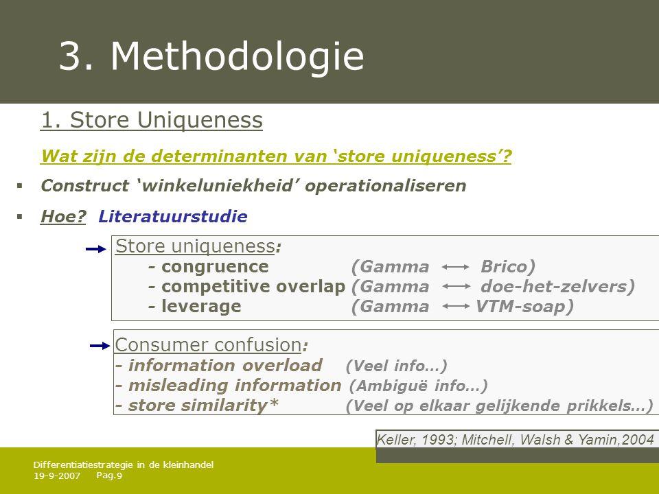 Pag. 19-9-20079 Differentiatiestrategie in de kleinhandel 3. Methodologie 1. Store Uniqueness Wat zijn de determinanten van 'store uniqueness'?  Cons