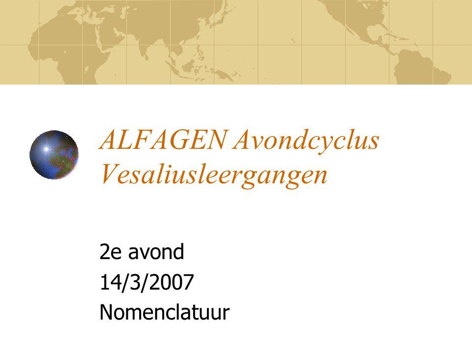 ALFAGEN Avondcyclus Vesaliusleergangen 2e avond 14/3/2007 Nomenclatuur