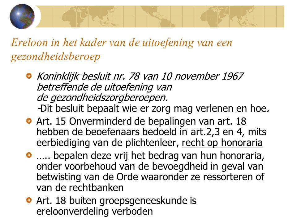 Ereloon in het kader van de uitoefening van een gezondheidsberoep Koninklijk besluit nr. 78 van 10 november 1967 betreffende de uitoefening van de gez