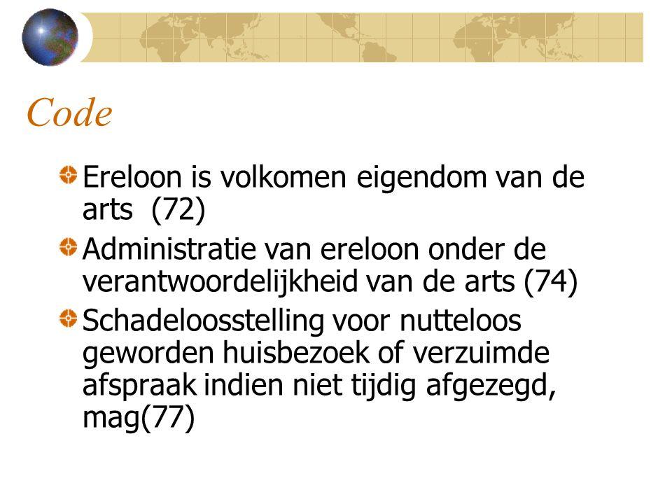 Code Ereloon is volkomen eigendom van de arts (72) Administratie van ereloon onder de verantwoordelijkheid van de arts (74) Schadeloosstelling voor nu
