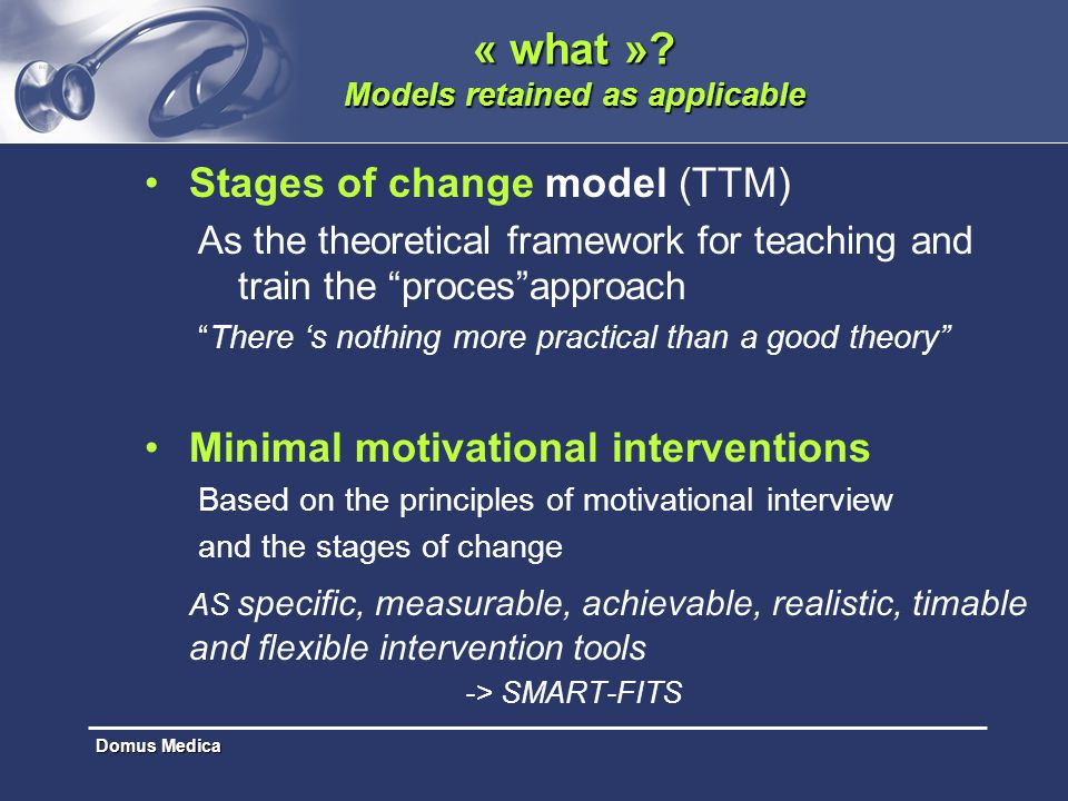 "Domus Medica « what »? Models retained as applicable Stages of change model (TTM) As the theoretical framework for teaching and train the ""proces""appr"