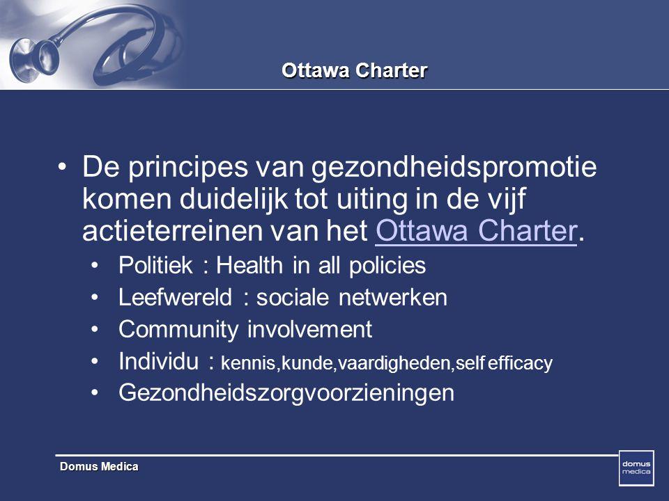 Domus Medica Ottawa Charter De principes van gezondheidspromotie komen duidelijk tot uiting in de vijf actieterreinen van het Ottawa Charter.Ottawa Charter Politiek : Health in all policies Leefwereld : sociale netwerken Community involvement Individu : kennis,kunde,vaardigheden,self efficacy Gezondheidszorgvoorzieningen