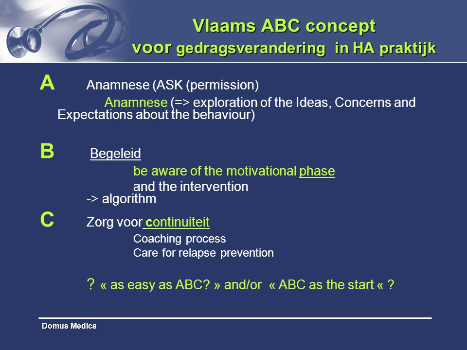 Domus Medica Vlaams ABC concept voor gedragsverandering in HA praktijk A Anamnese (ASK (permission) Anamnese (=> exploration of the Ideas, Concerns an