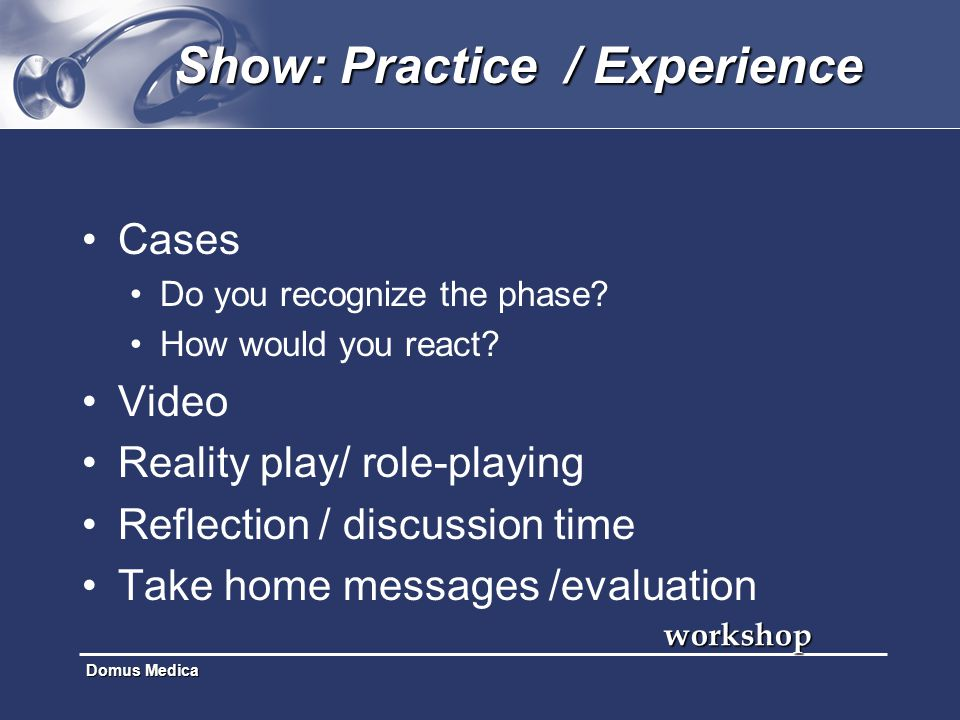 Domus Medica Show: Practice / Experience Cases Do you recognize the phase? How would you react? Video Reality play/ role-playing Reflection / discussi