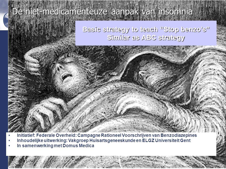 Domus Medica De niet-medicamenteuze aanpak van insomnia Initiatief: Federale Overheid: Campagne Rationeel Voorschrijven van Benzodiazepines Inhoudelijke uitwerking: Vakgroep Huisartsgeneeskunde en ELGZ Universiteit Gent In samenwerking met Domus Medica Basic strategy to teach Stop benzo's Similar as ABC strategy