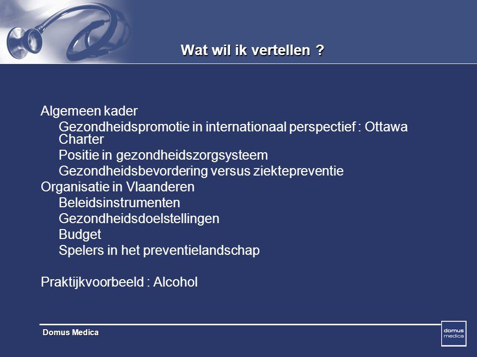 Domus Medica Vlaamse aanpak Gezondheidsdoelstellingen goedgekeurd door parlement LOGO's Domus Medica Huisarts georienteerde ondersteuning : Aanbevelingen (EBM) Praktijkhulpmiddelen Regionale training (LOK 's) E-learning development 'Health Target' oriented projects : Rookstop Voeding Fysieke activiteit Alcohol