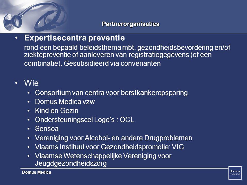 Domus Medica Partnerorganisaties Expertisecentra preventie rond een bepaald beleidsthema mbt.