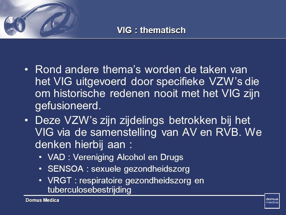 Domus Medica VIG : thematisch Rond andere thema's worden de taken van het VIG uitgevoerd door specifieke VZW's die om historische redenen nooit met het VIG zijn gefusioneerd.