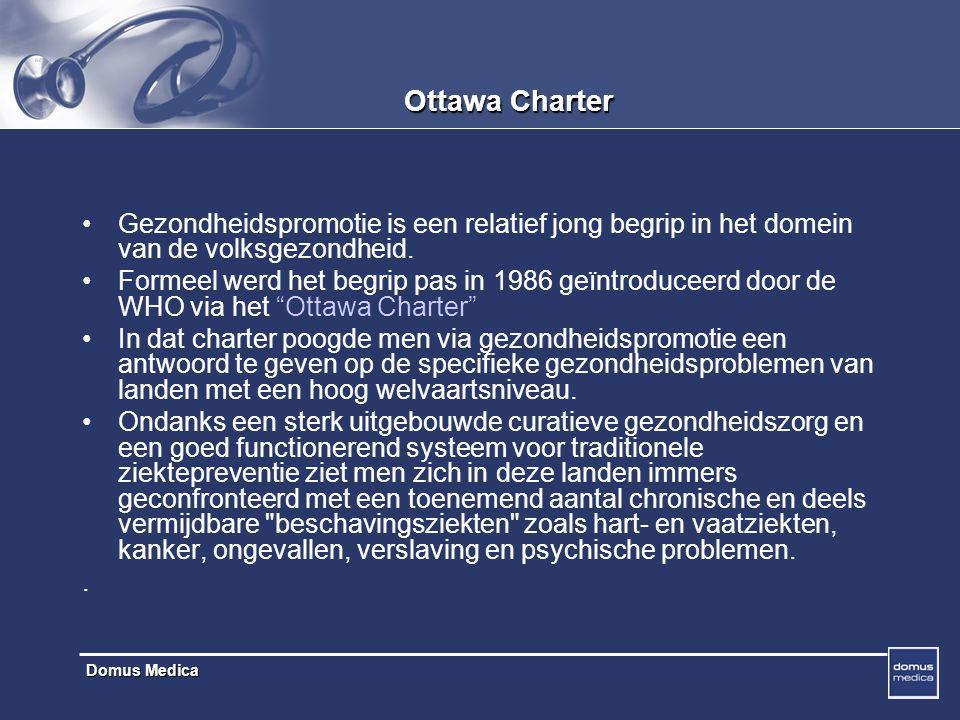 Domus Medica Ottawa charter : benaderingen Het multidimensionele karakter van gezondheids-promotie komt tot uiting in de benaderingen van gezondheidspromotie die in het charter worden voorgesteld.
