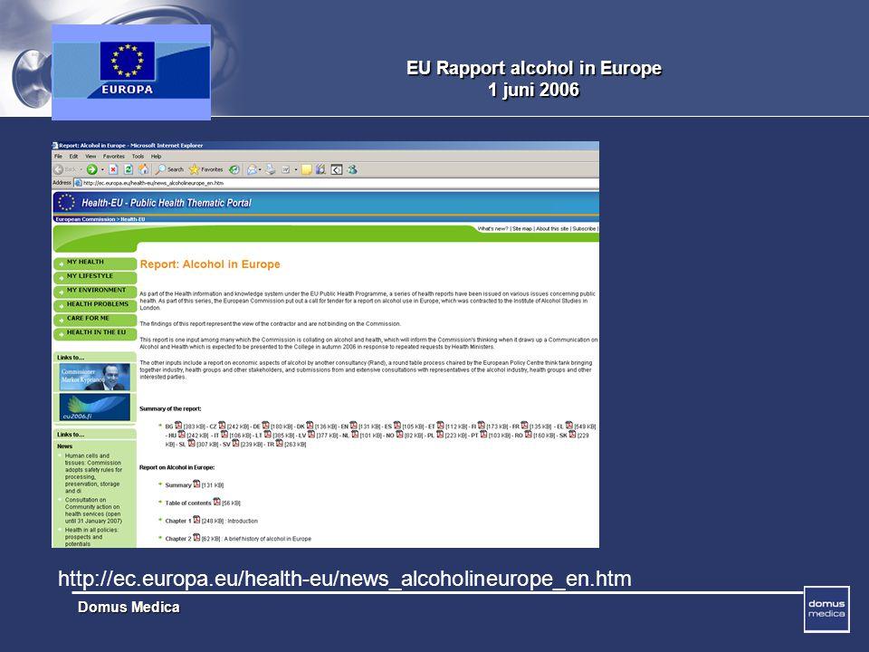 Domus Medica EU Rapport alcohol in Europe 1 juni 2006 http://ec.europa.eu/health-eu/news_alcoholineurope_en.htm