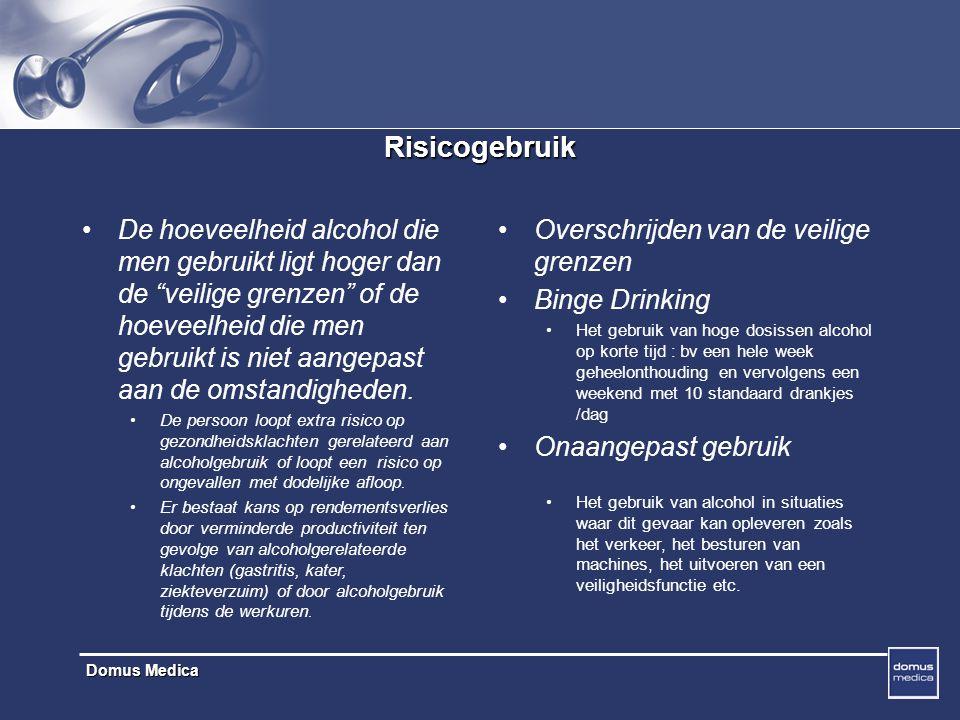 Domus Medica Risicogebruik De hoeveelheid alcohol die men gebruikt ligt hoger dan de veilige grenzen of de hoeveelheid die men gebruikt is niet aangepast aan de omstandigheden.