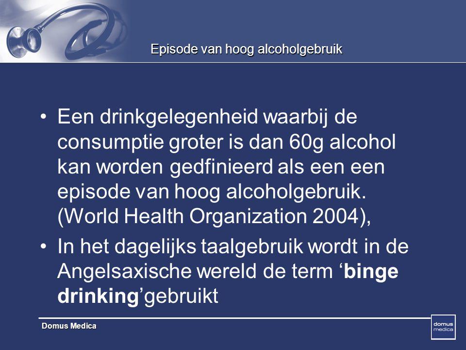 Domus Medica Episode van hoog alcoholgebruik Een drinkgelegenheid waarbij de consumptie groter is dan 60g alcohol kan worden gedfinieerd als een een episode van hoog alcoholgebruik.