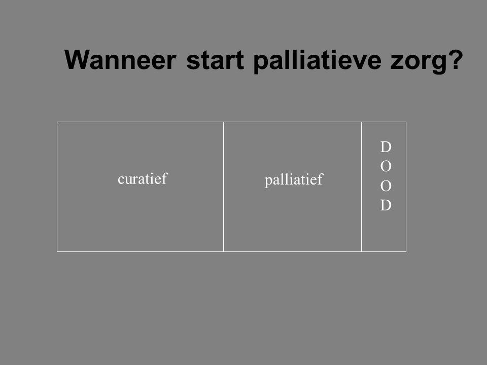 Wanneer start palliatieve zorg? curatief palliatief DOODDOOD