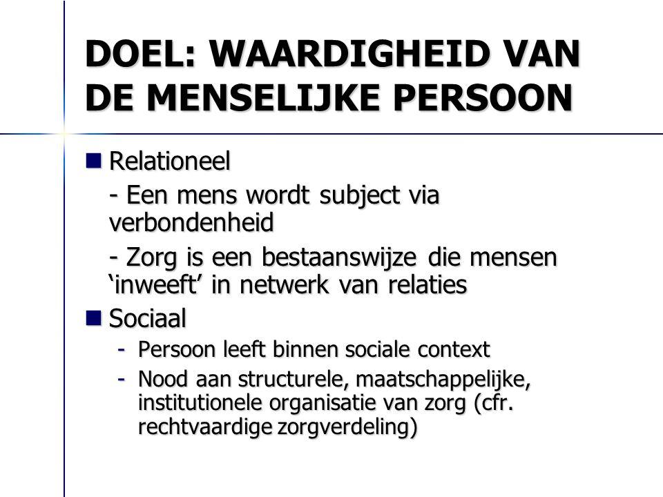 DOEL: WAARDIGHEID VAN DE MENSELIJKE PERSOON Relationeel Relationeel - Een mens wordt subject via verbondenheid - Zorg is een bestaanswijze die mensen