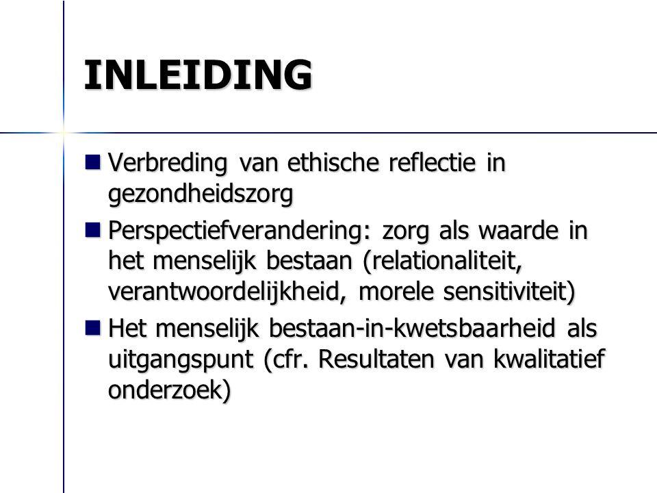 INLEIDING Verbreding van ethische reflectie in gezondheidszorg Verbreding van ethische reflectie in gezondheidszorg Perspectiefverandering: zorg als w