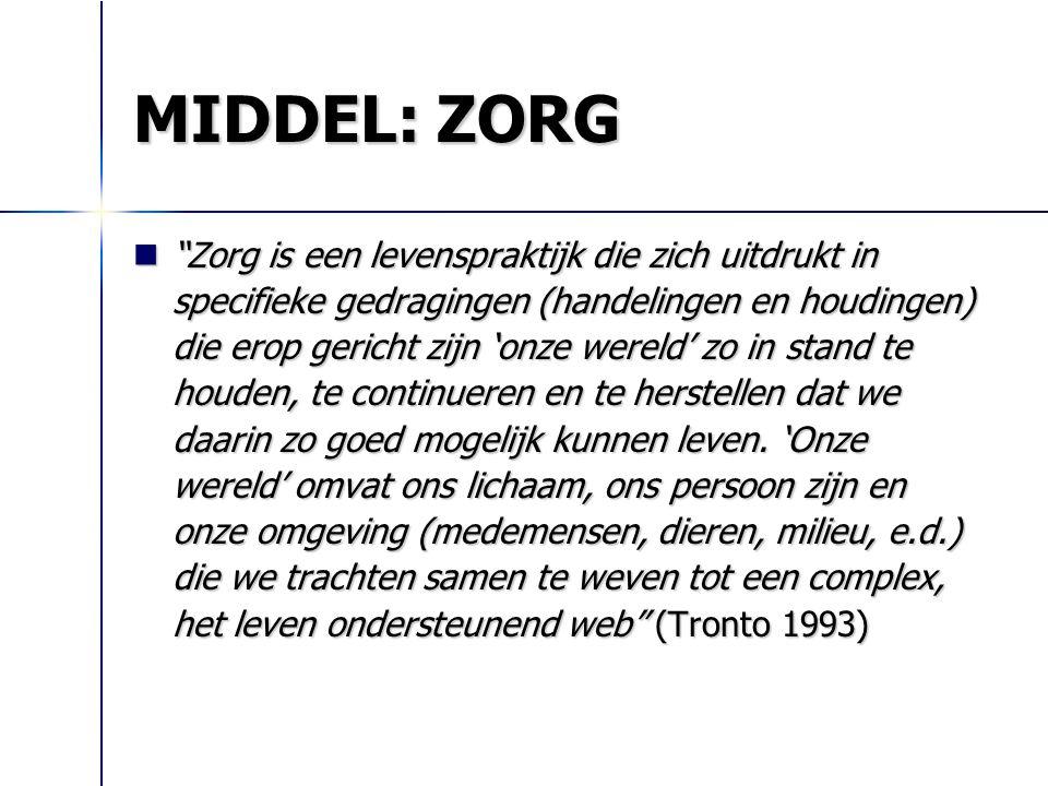 """MIDDEL: ZORG """"Zorg is een levenspraktijk die zich uitdrukt in specifieke gedragingen (handelingen en houdingen) die erop gericht zijn 'onze wereld' zo"""