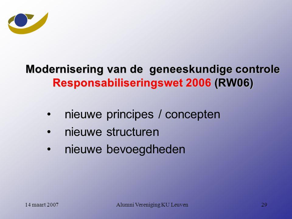 Alumni Vereniging KU Leuven2914 maart 2007 Modernisering van de geneeskundige controle Responsabiliseringswet 2006 (RW06) nieuwe principes / concepten nieuwe structuren nieuwe bevoegdheden