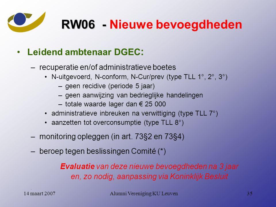 Alumni Vereniging KU Leuven3514 maart 2007 RW06 - RW06 - Nieuwe bevoegdheden Leidend ambtenaar DGEC : –recuperatie en/of administratieve boetes N-uitgevoerd, N-conform, N-Cur/prev (type TLL 1°, 2°, 3°) –geen recidive (periode 5 jaar) –geen aanwijzing van bedrieglijke handelingen –totale waarde lager dan € 25 000 administratieve inbreuken na verwittiging (type TLL 7°) aanzetten tot overconsumptie (type TLL 8°) –monitoring opleggen (in art.
