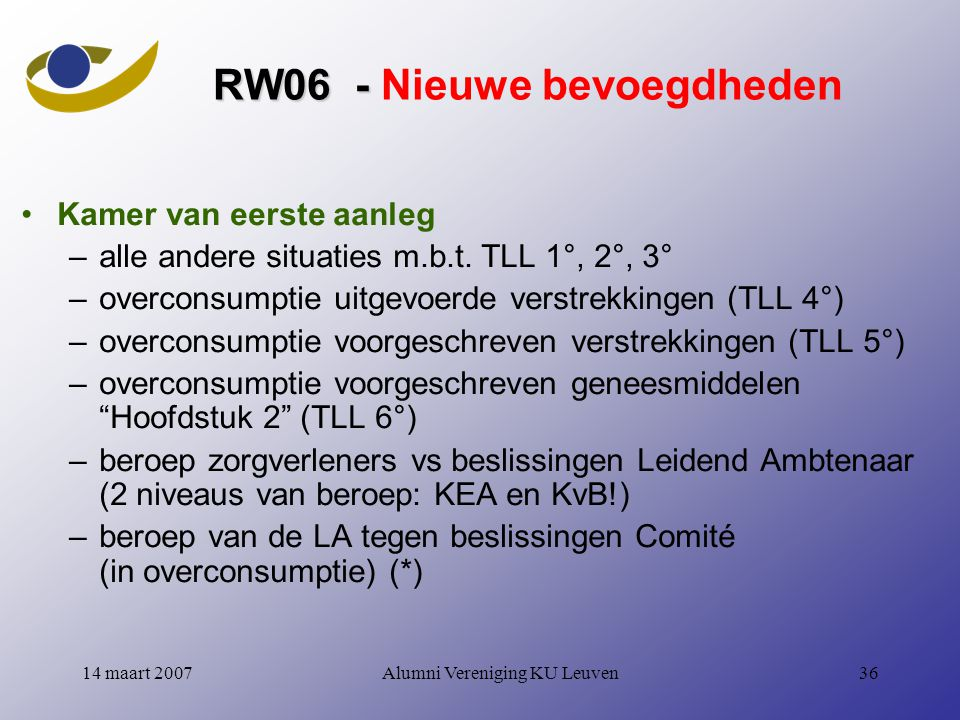Alumni Vereniging KU Leuven3614 maart 2007 RW06 - RW06 - Nieuwe bevoegdheden Kamer van eerste aanleg –alle andere situaties m.b.t.